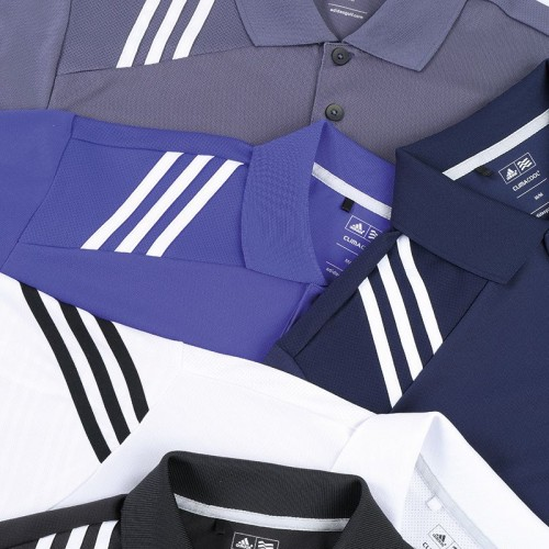 ADIDAS top Climacool® 3 stripe solid polo Performance  GSM Polo Shirt