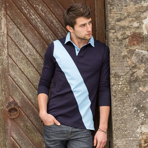 Front Row & Co top Diagonal stripe house rugby cotton 220 GSM Polo Shirt