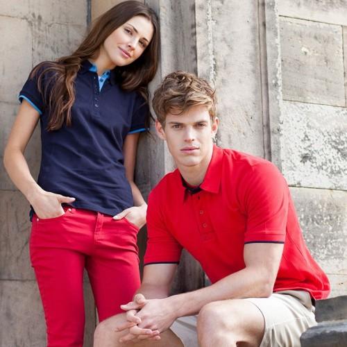 Front Row & Co top Women's contrast pique elegant Polo Shirt