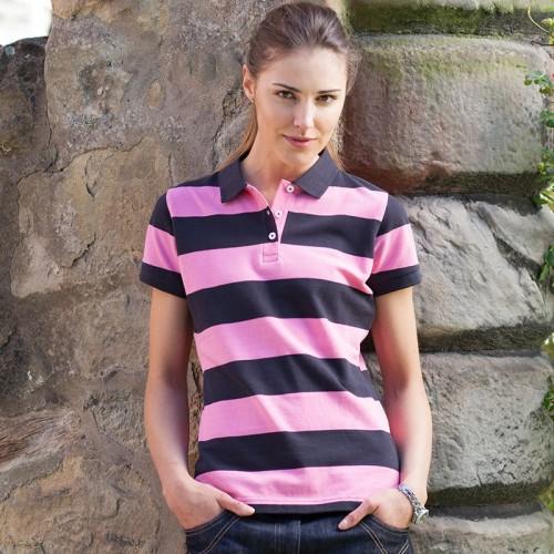 Front Row & Co top Women's striped pique polo Performance 200 GSM Polo Shirt