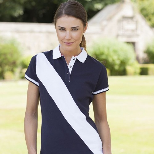 Front Row & Co top Women's diagonal stripe slip fit 200 GSM Polo Shirt