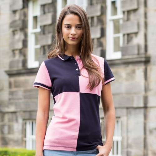 Front Row & Co top Women's quartered house polo cut sew