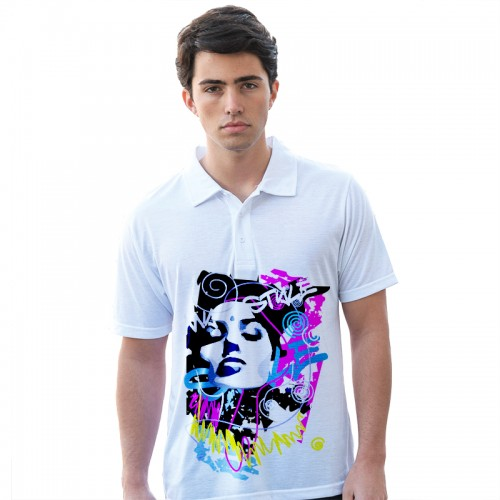 AWD Sublimation White 185 GSM Polo Shirt