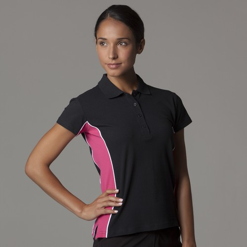 Women's Gamegear® track polo in black combination